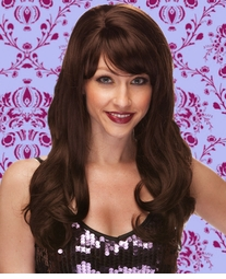 Long Wig with Tousled Curls and Face Framing Bangs in Chocolate Brown