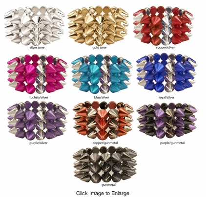 "1.15"" Wide Spike Bracelet in Candy Colors"