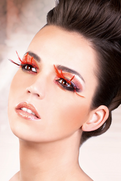 Red and Black Feather Lashes