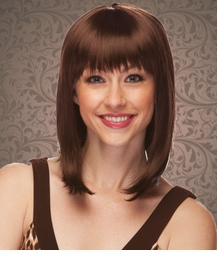 Chic Tapered Wig with Full Bangs in Chocolate Brown