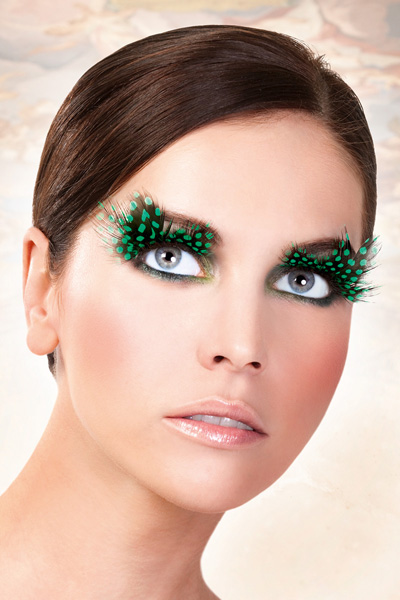 Black and Green Feather Lashes