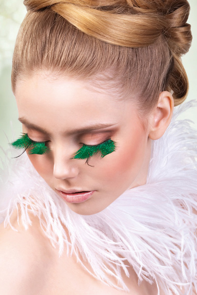 Green Feather False Lashes