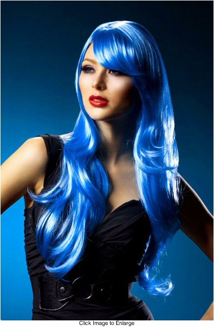 Long Layered Sultry Dark Blue Wig with Bangs