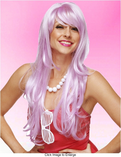 Long Layered Sultry Lilac Purple Wig with Bangs