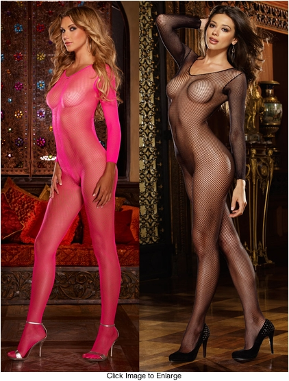 Long Sleeve Fishnet Bodystocking Available in Hot Pink and Black