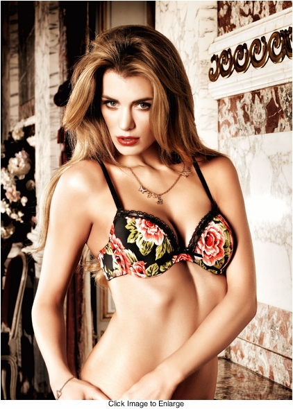 Black and Floral Microfiber And Lace Bra With Underwire