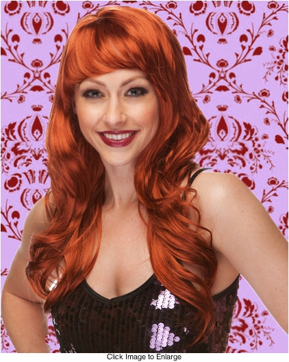 Long Wig with Tousled Curls and Face Framing Bangs in Auburn Red