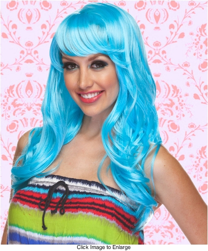 Long Wig with Tousled Curls and Face Framing Bangs in Light Blue