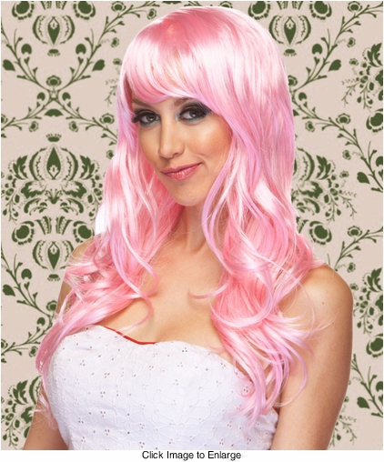 Long Wig with Tousled Curls and Face Framing Bangs in Light Pink