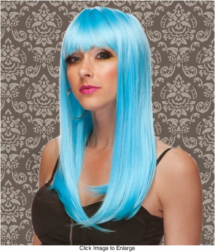 Vixen Long Hair Wig with Full Bangs in Light Blue