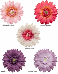 "3.5"" Gerber Daisy Flower Hair Clip for $9.00 Premium Quality Flower in 5 Colors"