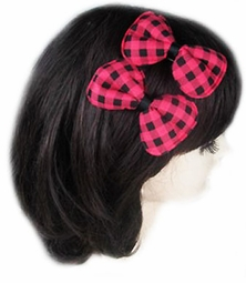 "3"" Checker Bow Hair Clip"