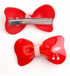 "2.5"" Acrylic Bow With Cherry Hair Clip"