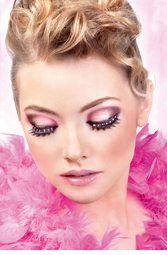 Textured Lashes with Hot Pink Crystals