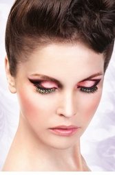 Star Feather Lashes with Clear and Red Crystals