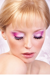 Black Lashes with Baby Pink Crystals