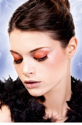 Black Feather Lashes with Red and Blue Crystals
