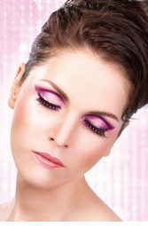 Black False Lashes adorned with Purple Crystals
