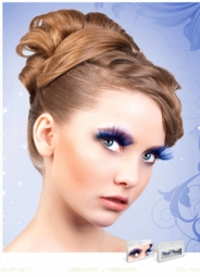Long Blue Lashes with Silver Holographic Lurex