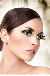 Black and Yellow Feather Lashes