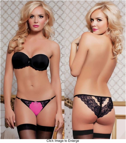 Mesh and Lace Cutout Back Panty