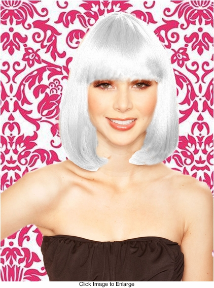 Edgy Page Style Wig in Snow White