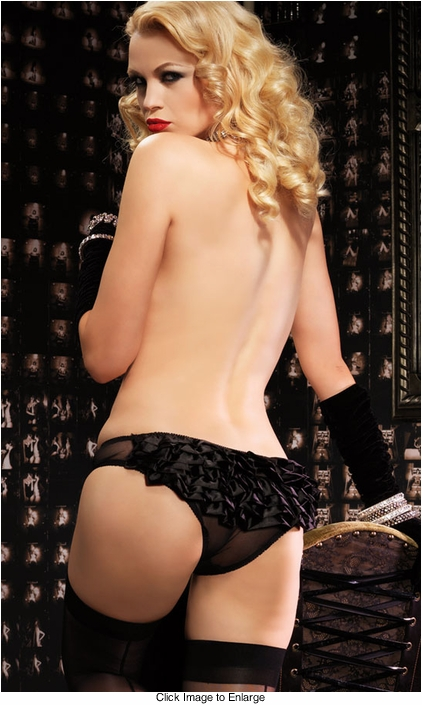 Sheer Black Panty with Ruffle Back