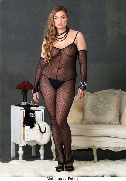 Plus Size Mini Daisy Lace Bodystocking with Matching Fingerless Gloves