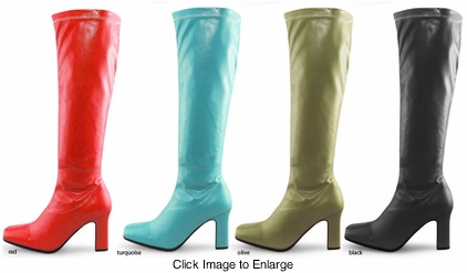 "3.5"" Gogo Boots in Stretch Faux Leather"