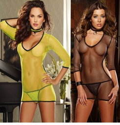 Fishent Mini Dress with Open Back, G-String and Choker