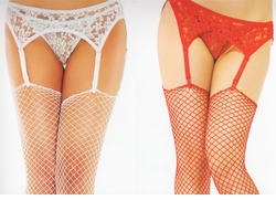 Plus Size Stretch Lace Garter Belt with Matching Thong