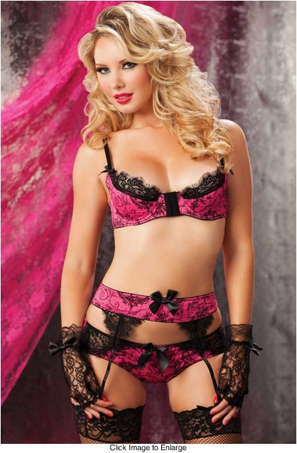 Pink Knit Underwire Bra, Garter Belt and Shirred Back Panty