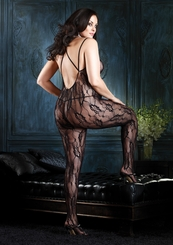 Plus Size Flower Lace Criss Cross Straps Bodystocking