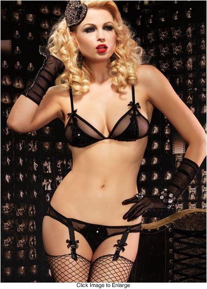 Sequin and Mesh Retro Burlesque Top and Garter Panty