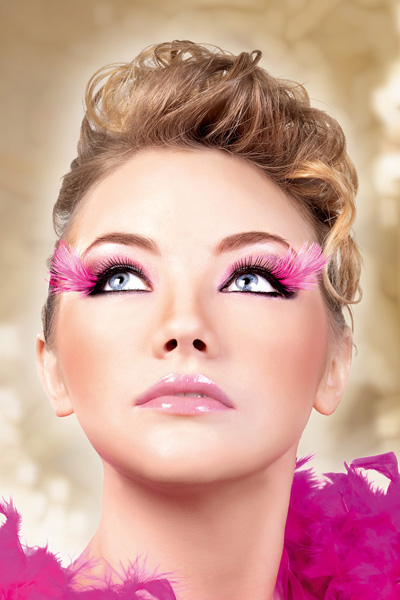 Black Lashes with Fuchsia Feather Tips