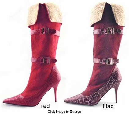 "3.5"" Faux Suede Croc Print Boots from Michael Antonio"