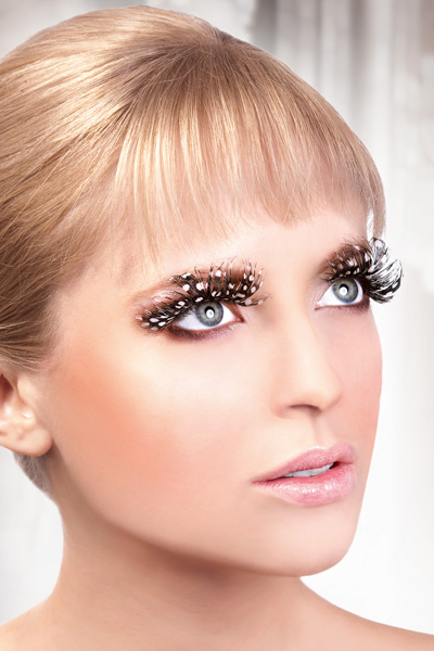 Brown Feather Lashes with White Dots