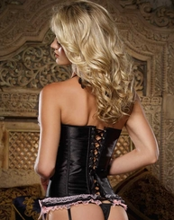 Sweetheart Satin and Lace Corset and Thong (available up to size 38)