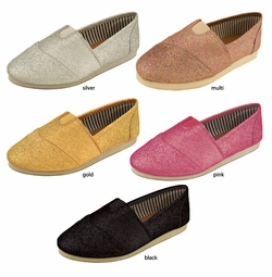 Glitter Canvas Tom Girl Flats