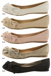 Soft Faux Leather Flats with Bow Side