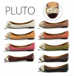 "Ballet Flats in Faux Alligator Leather ""Pluto"" from Michael Antonio"