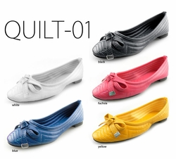 Quilted Ballet Flats in Vibrant Colors