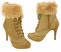"3.5"" Ankle Booties with Front Lacing and Detachable Faux Fur Cuff"