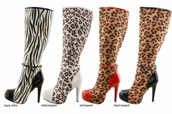 "5"" Boots in Animal Print Faux Suede"