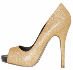 "5"" Gold Sparkle PeepToe Pumps with 0.5"" Platform ""Keme"" from Michael Antonio"