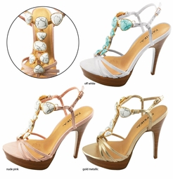 "SALE ** 5"" Strappy Shoes with Jeweled Stone Front"