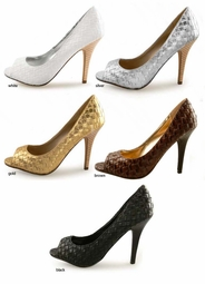 "SALE ** 4"" Woven Open Toe Pumps ""Kwame"" from Michael Antonio"