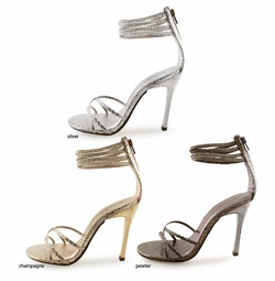 "4"" Metallic Snake Print Shoes with Ankle Strap ""Embassy"" from Michael Antonio"