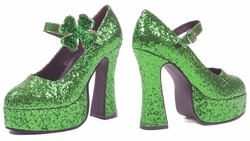 Ellie Shoes Lucky Green Glitter Shamrock