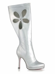 "4.5"" Gogo Boots in Silver Faux Leather"